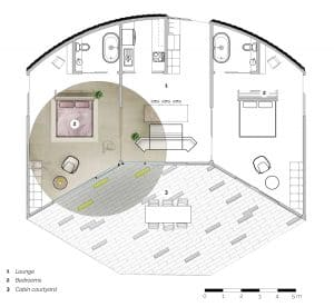 A part rendered plan of a cabin.