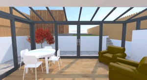 Bifold doors for a glassy extension