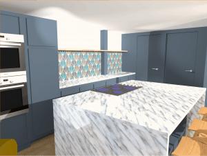 Digital 3d visual of kitchen