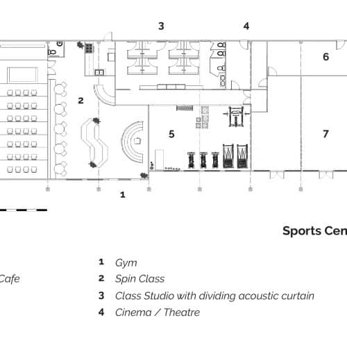 Plan of the existing building which has been turned into a sports centre